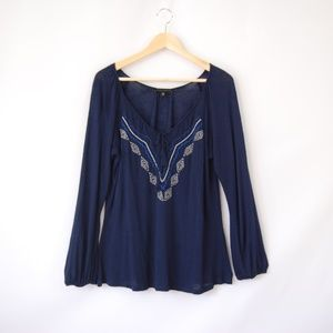 Sanctuary Long Sleeve Navy Embroidered Peasant Top